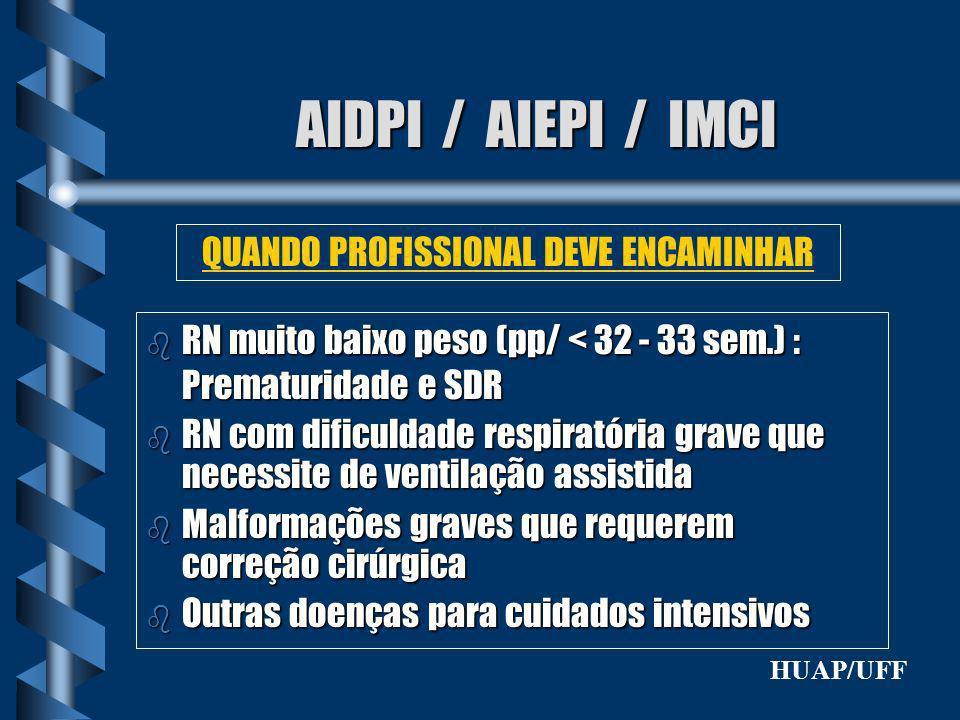 AIDPI / AIEPI / IMCI b RN muito baixo peso (pp/ < 32 - 33 sem.) : Prematuridade e SDR b RN com dificuldade respiratória grave que necessite de ventila