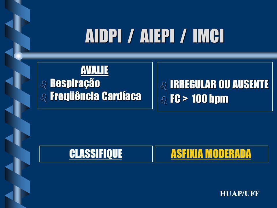 AIDPI / AIEPI / IMCI AVALIE b Respiração b Freqüência Cardíaca b IRREGULAR OU AUSENTE b FC > 100 bpm CLASSIFIQUEASFIXIA MODERADA HUAP/UFF