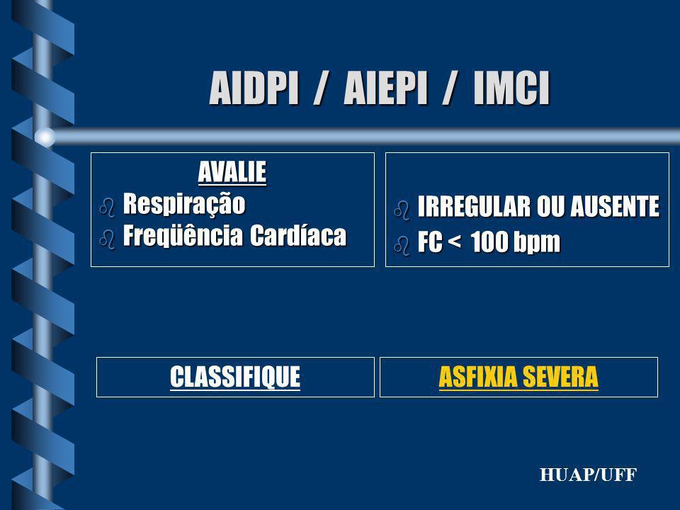 AIDPI / AIEPI / IMCI AVALIE b Respiração b Freqüência Cardíaca b IRREGULAR OU AUSENTE b FC < 100 bpm CLASSIFIQUEASFIXIA SEVERA HUAP/UFF