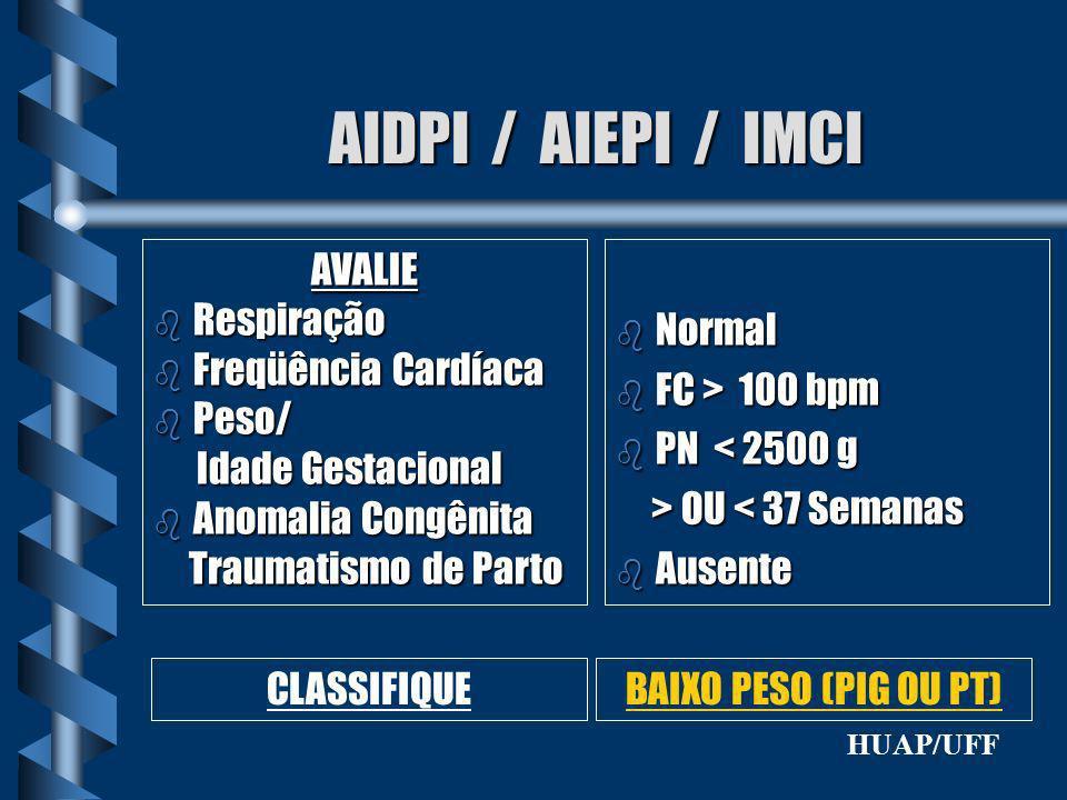 AIDPI / AIEPI / IMCI AVALIE b Respiração b Freqüência Cardíaca b Peso/ Idade Gestacional Idade Gestacional b Anomalia Congênita Traumatismo de Parto T