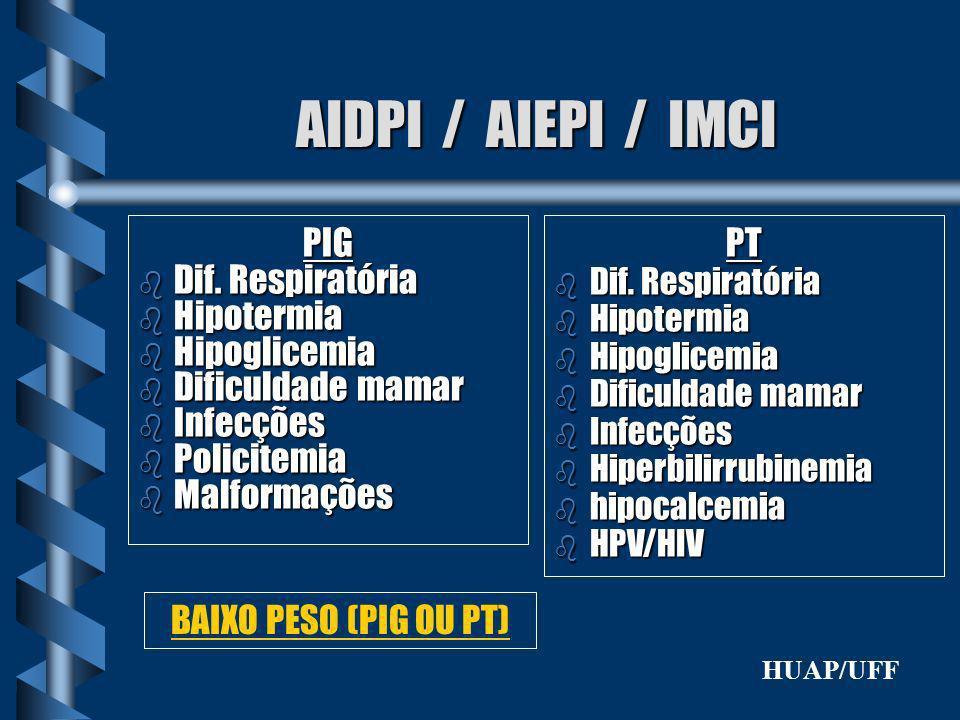 AIDPI / AIEPI / IMCI PIG b Dif. Respiratória b Hipotermia b Hipoglicemia b Dificuldade mamar b Infecções b Policitemia b Malformações PT b Dif. Respir