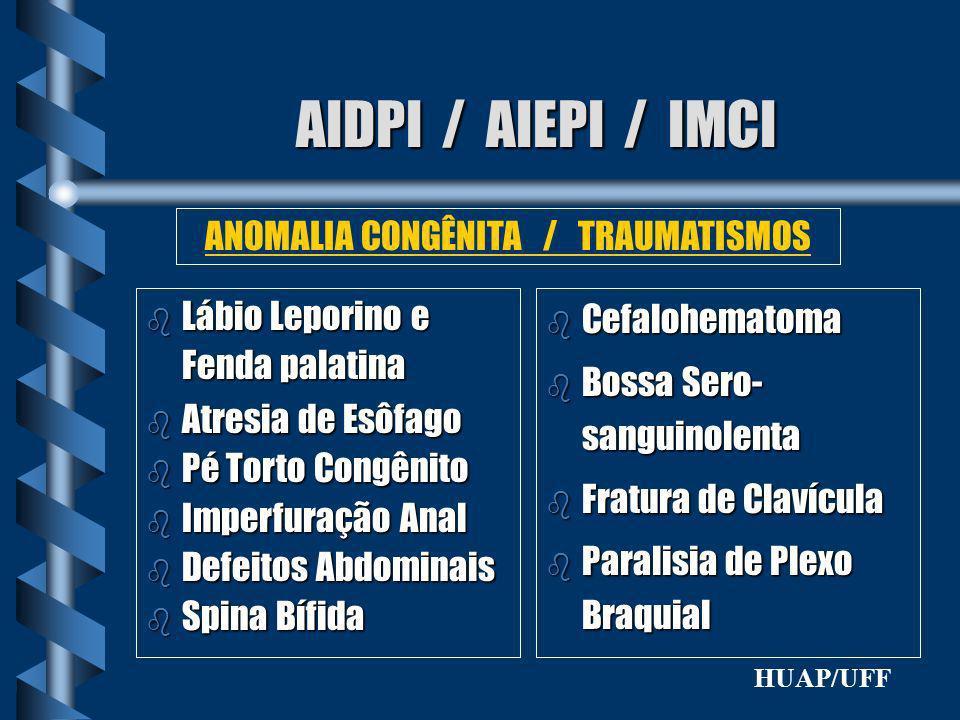 AIDPI / AIEPI / IMCI b Lábio Leporino e Fenda palatina b Atresia de Esôfago b Pé Torto Congênito b Imperfuração Anal b Defeitos Abdominais b Spina Bíf