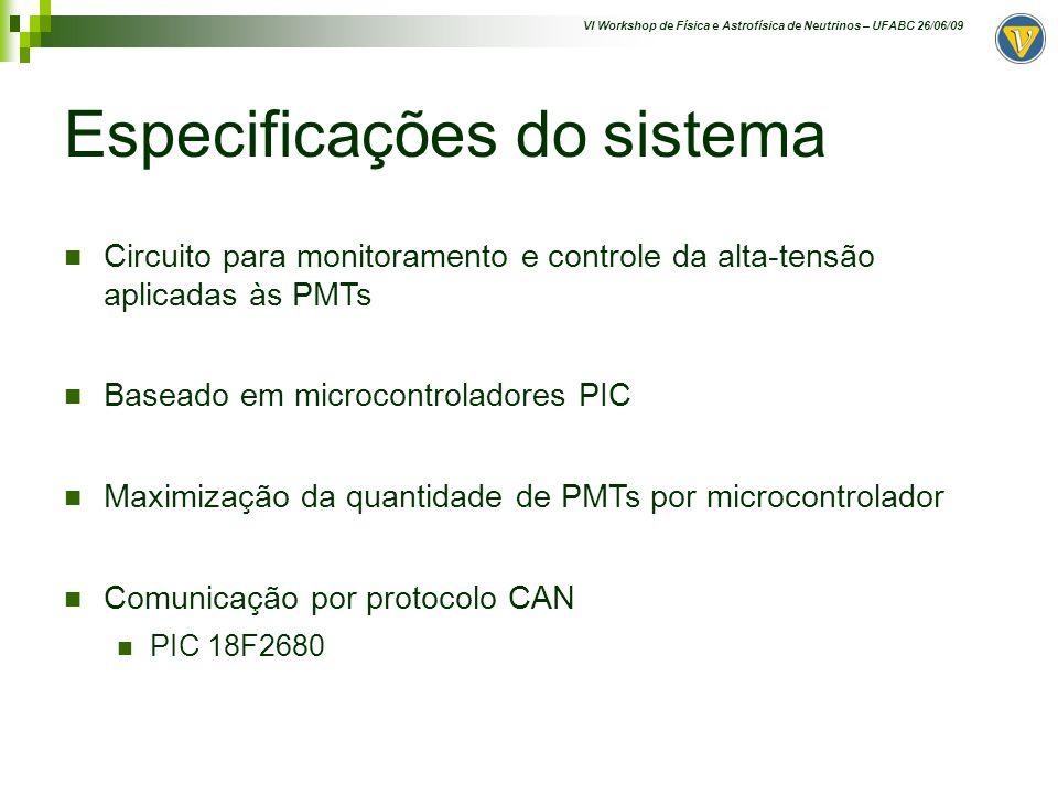 VI Workshop de Física e Astrofísica de Neutrinos – UFABC 26/06/09 Especificações do sistema Circuito para monitoramento e controle da alta-tensão apli