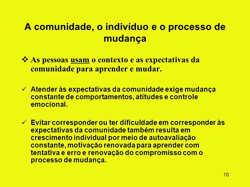 9 Comunidade como método Quatro componentes inter-relacionados Comunidade é o contexto das relações entre pares e funcionários e a rotina diária de at
