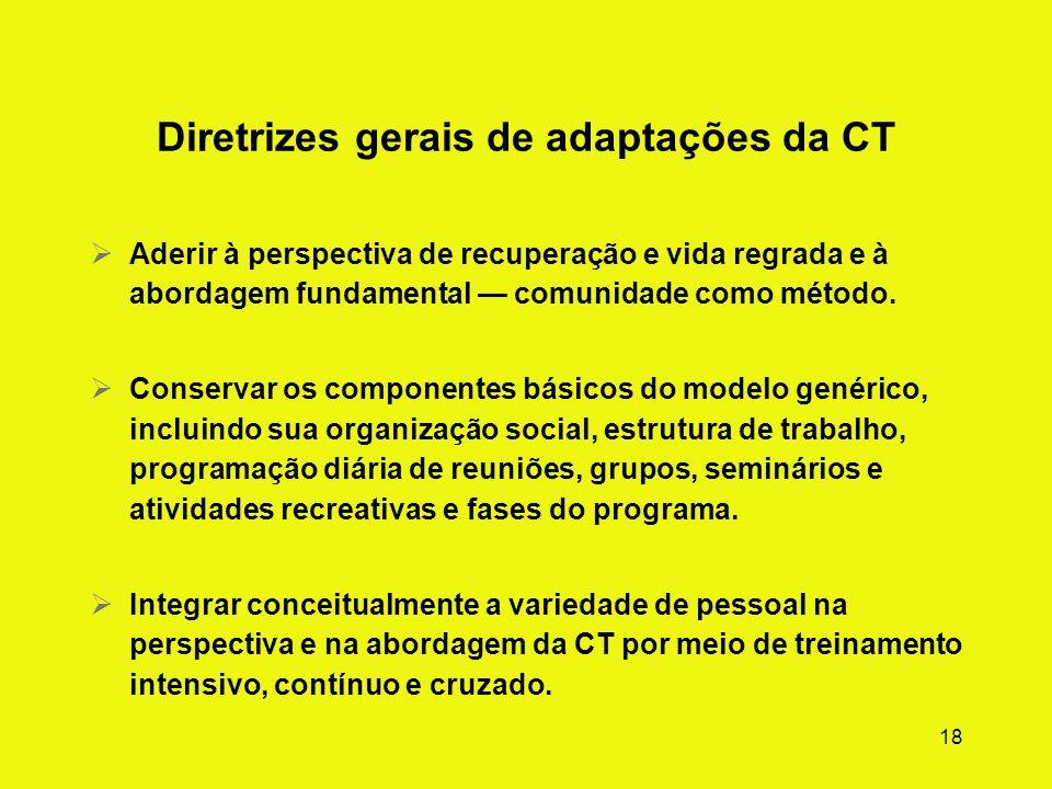 17 Resumo geral das modificações da CT Práticas e elementos do programa para populações e ambientes especiais: As metas do tratamento, a duração previ