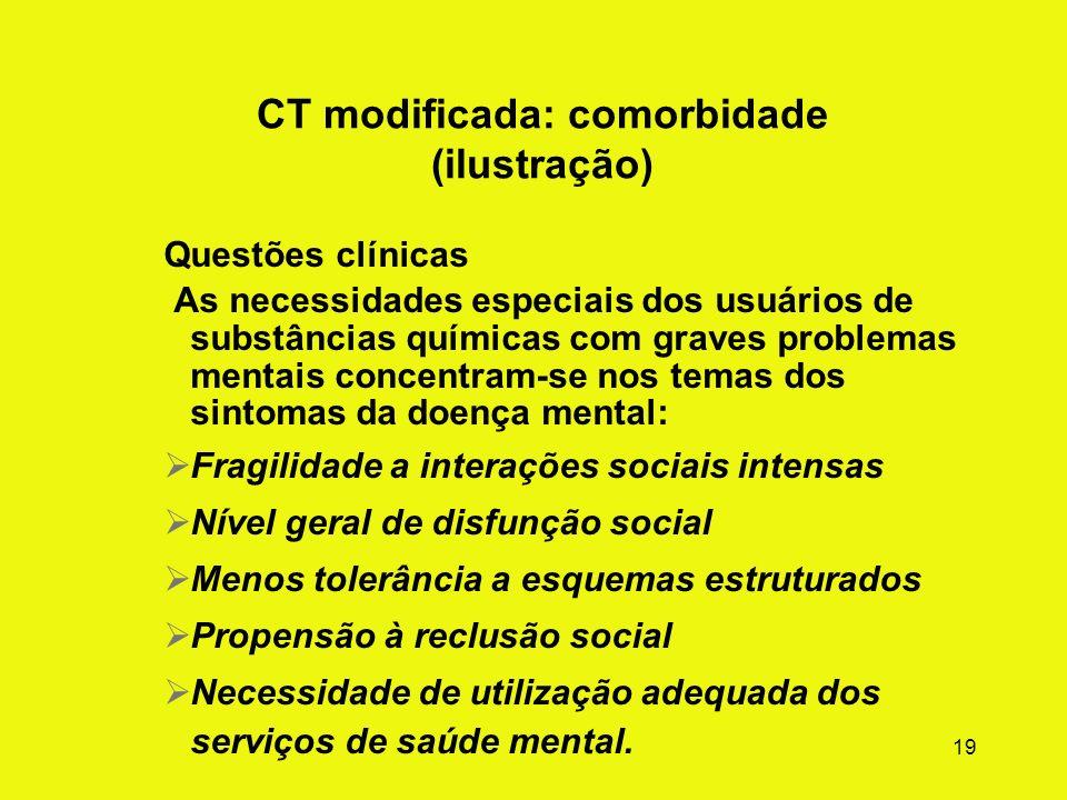 18 Diretrizes gerais de adaptações da CT Aderir à perspectiva de recuperação e vida regrada e à abordagem fundamental comunidade como método. Conserva