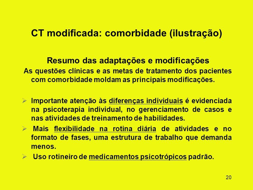 19 CT modificada: comorbidade (ilustração) Questões clínicas As necessidades especiais dos usuários de substâncias químicas com graves problemas menta