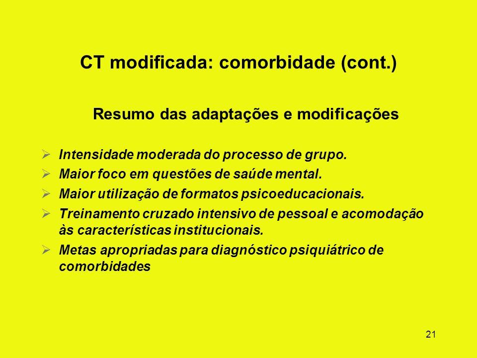 20 CT modificada: comorbidade (ilustração) Resumo das adaptações e modificações As questões clínicas e as metas de tratamento dos pacientes com comorb