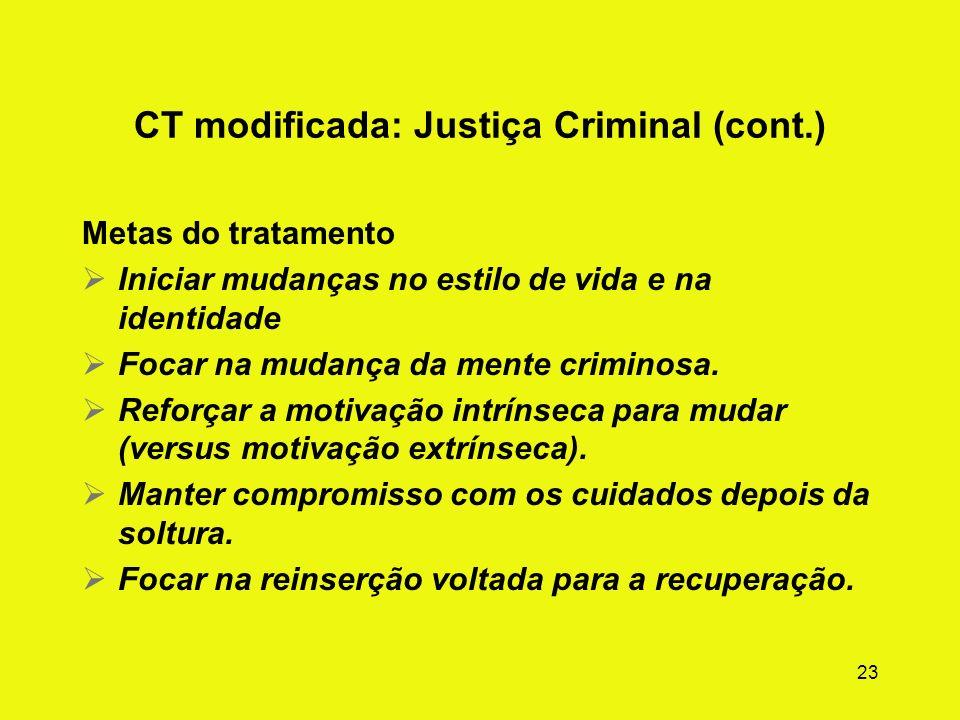 22 CT modificada: Pacientes da Justiça Criminal (ilustração) Questões clínicas Foco das necessidades especiais em temas de desvio criminoso + abuso de