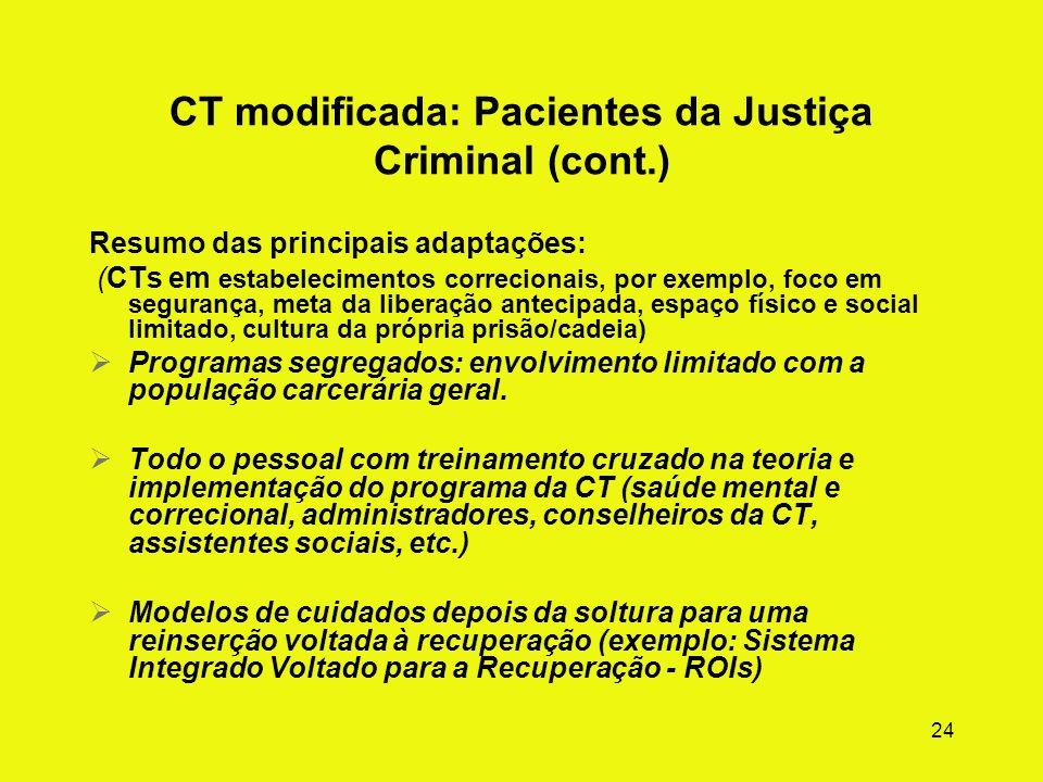 23 CT modificada: Justiça Criminal (cont.) Metas do tratamento Iniciar mudanças no estilo de vida e na identidade Focar na mudança da mente criminosa.