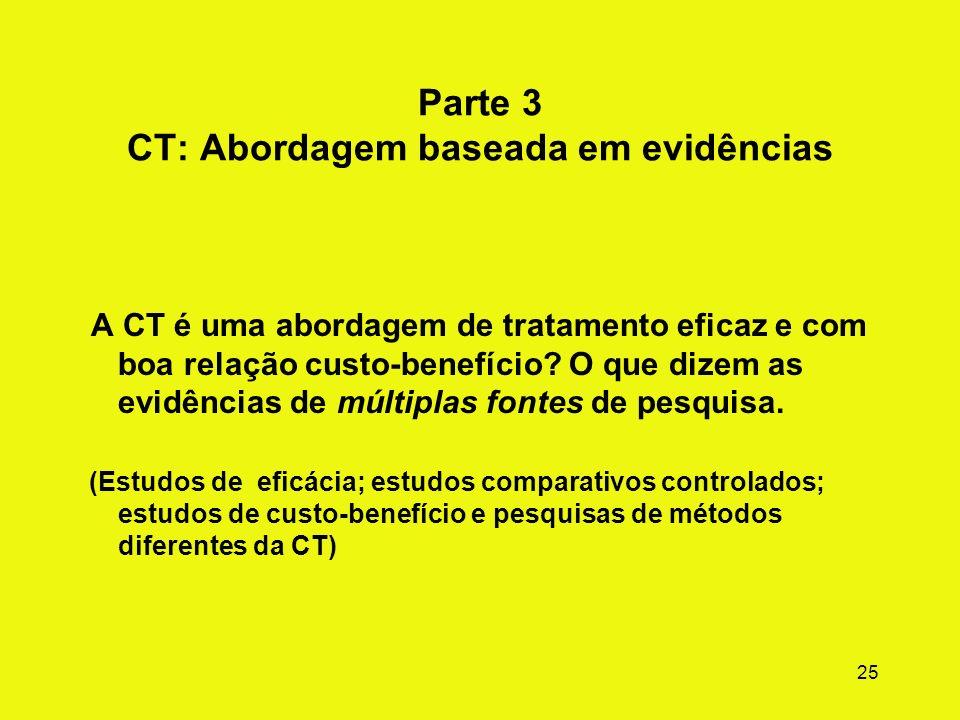 24 CT modificada: Pacientes da Justiça Criminal (cont.) Resumo das principais adaptações: (CTs em estabelecimentos correcionais, por exemplo, foco em