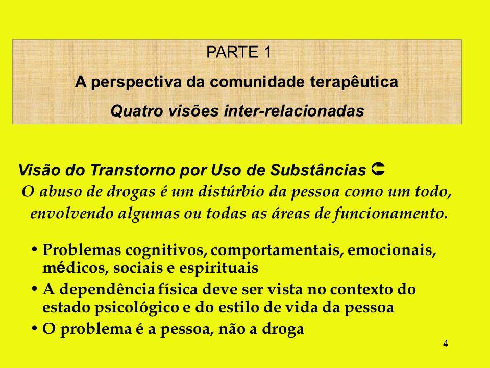 4 Problemas cognitivos, comportamentais, emocionais, m é dicos, sociais e espirituais A dependência física deve ser vista no contexto do estado psicológico e do estilo de vida da pessoa O problema é a pessoa, não a droga PARTE 1 A perspectiva da comunidade terapêutica Quatro visões inter-relacionadas Visão do Transtorno por Uso de Substâncias O abuso de drogas é um distúrbio da pessoa como um todo, envolvendo algumas ou todas as áreas de funcionamento.