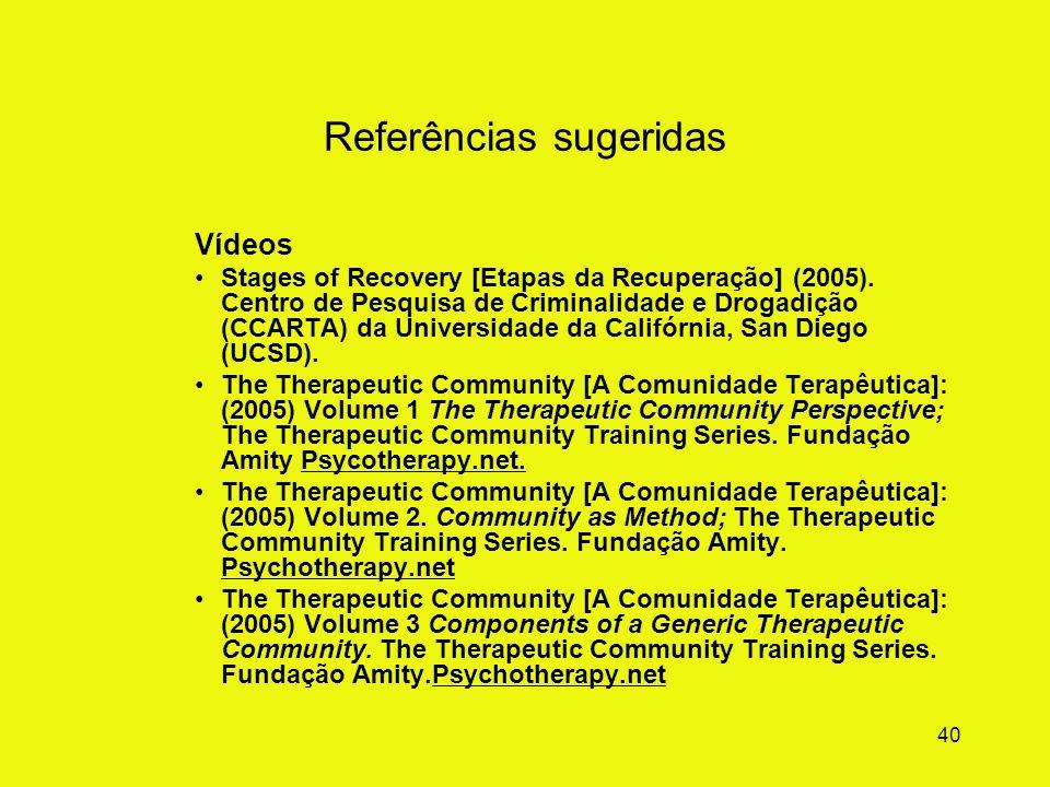 39 Referências sugeridas Livros e capítulos De Leon, G. (2000). A Comunidade Terapeutica : Teoria, Modelo e Método. São Paulo: Edições Loyola, 2009 3ª