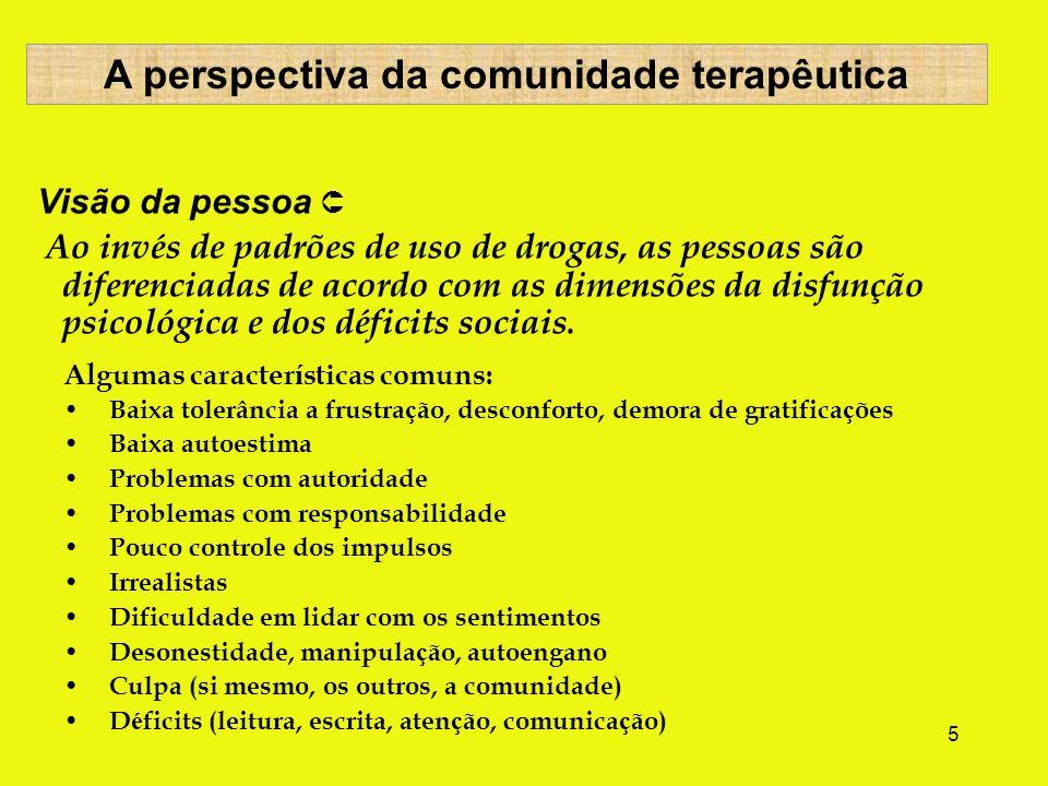 5 Visão da pessoa Ao invés de padrões de uso de drogas, as pessoas são diferenciadas de acordo com as dimensões da disfunção psicológica e dos déficits sociais.