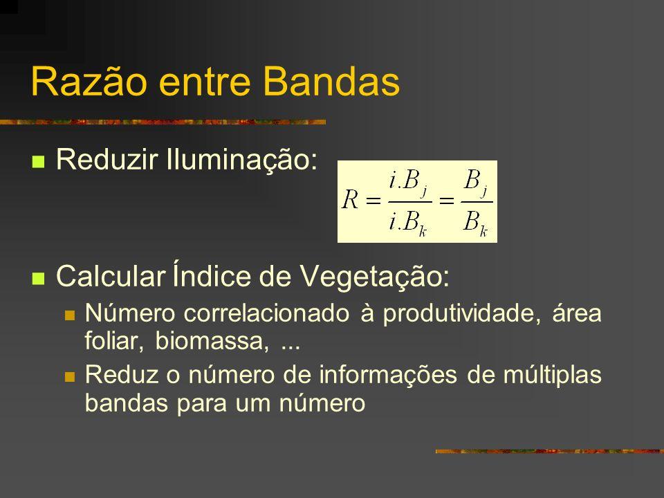 Razão entre Bandas Reduzir Iluminação: Calcular Índice de Vegetação: Número correlacionado à produtividade, área foliar, biomassa,... Reduz o número d