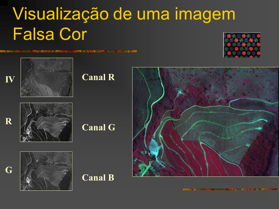Visualização de uma imagem Falsa Cor IV R G Canal R Canal G Canal B