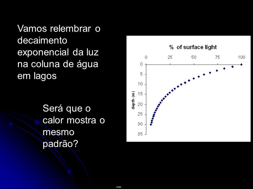 Vamos relembrar o decaimento exponencial da luz na coluna de água em lagos Kalff 2002 Será que o calor mostra o mesmo padrão?