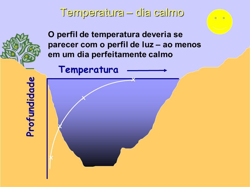 Profundidade Temperatura x x x x O perfil de temperatura deveria se parecer com o perfil de luz – ao menos em um dia perfeitamente calmo Temperatura –