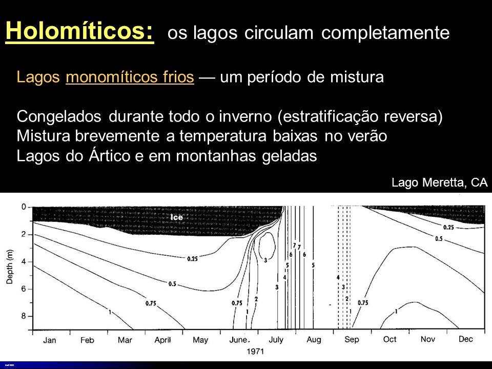 Lagos monomíticos frios um período de mistura Congelados durante todo o inverno (estratificação reversa) Mistura brevemente a temperatura baixas no ve
