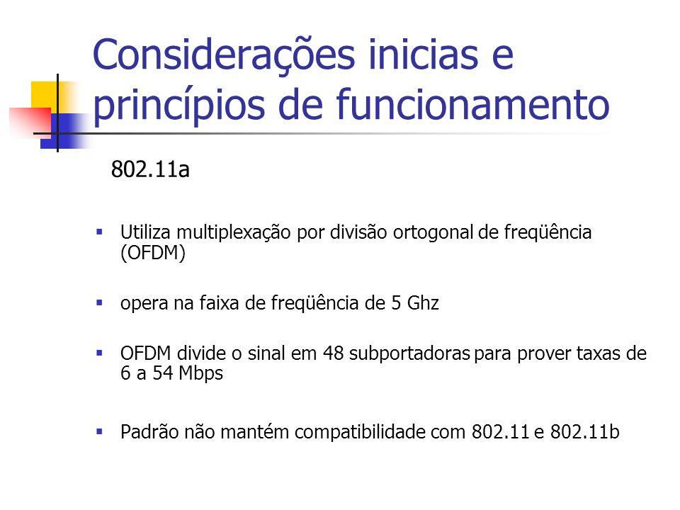802.11a Utiliza multiplexação por divisão ortogonal de freqüência (OFDM) opera na faixa de freqüência de 5 Ghz OFDM divide o sinal em 48 subportadoras para prover taxas de 6 a 54 Mbps Padrão não mantém compatibilidade com 802.11 e 802.11b