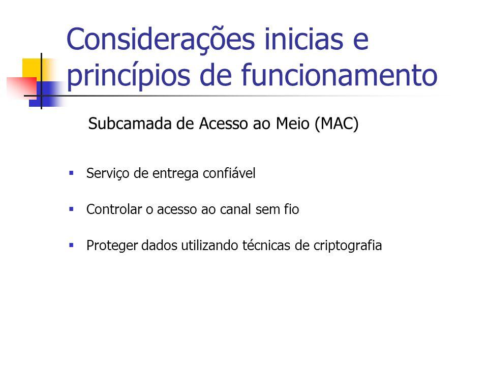 Subcamada de Acesso ao Meio (MAC) Serviço de entrega confiável Controlar o acesso ao canal sem fio Proteger dados utilizando técnicas de criptografia