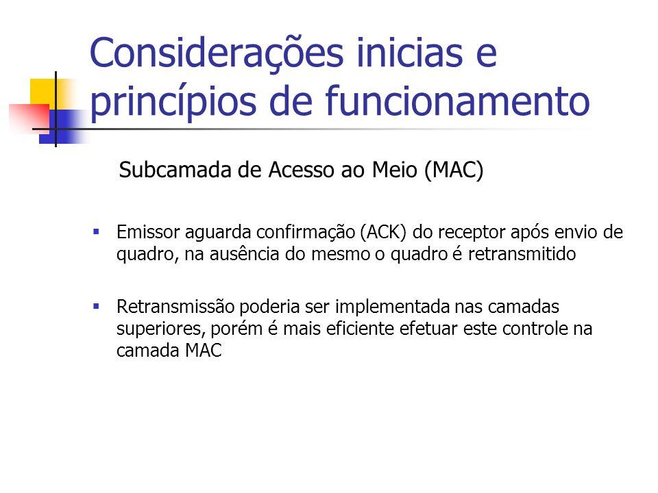 Considerações inicias e princípios de funcionamento Subcamada de Acesso ao Meio (MAC) Emissor aguarda confirmação (ACK) do receptor após envio de quadro, na ausência do mesmo o quadro é retransmitido Retransmissão poderia ser implementada nas camadas superiores, porém é mais eficiente efetuar este controle na camada MAC