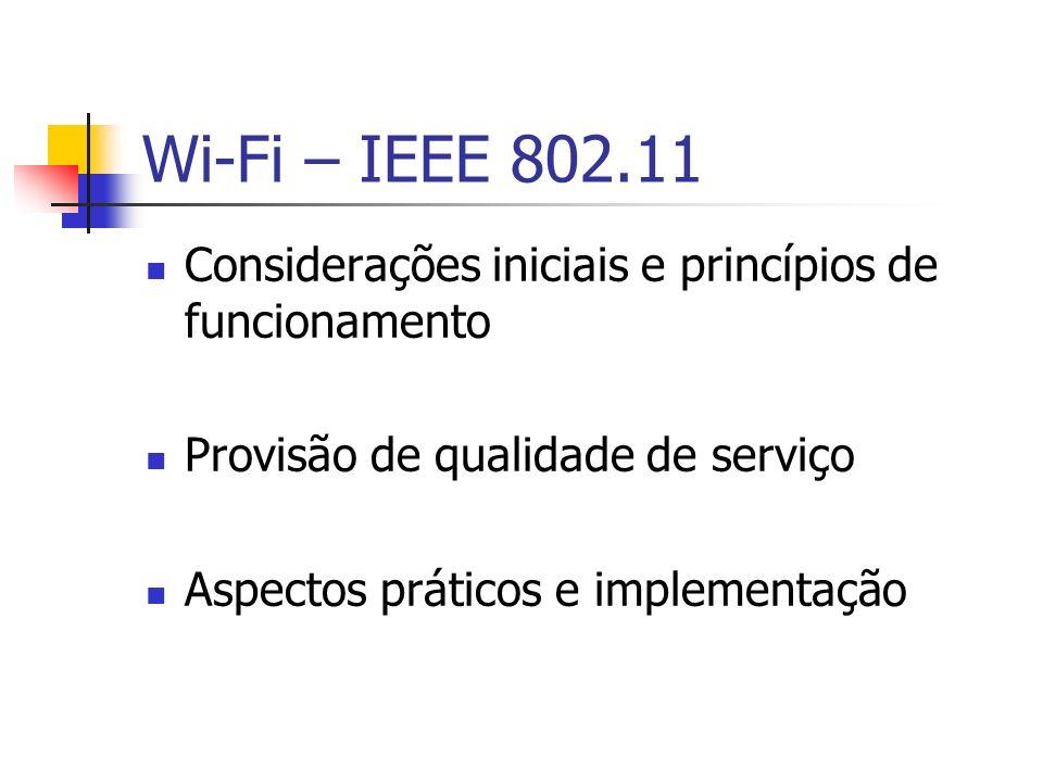 Wi-Fi – IEEE 802.11 Considerações iniciais e princípios de funcionamento Provisão de qualidade de serviço Aspectos práticos e implementação