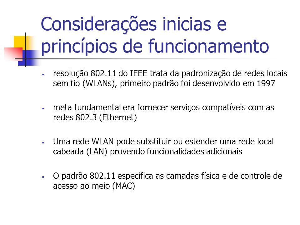 Considerações inicias e princípios de funcionamento resolução 802.11 do IEEE trata da padronização de redes locais sem fio (WLANs), primeiro padrão foi desenvolvido em 1997 meta fundamental era fornecer serviços compatíveis com as redes 802.3 (Ethernet) Uma rede WLAN pode substituir ou estender uma rede local cabeada (LAN) provendo funcionalidades adicionais O padrão 802.11 especifica as camadas física e de controle de acesso ao meio (MAC)