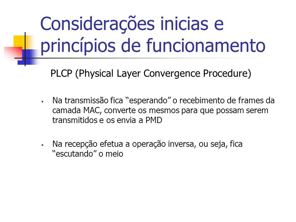 Considerações inicias e princípios de funcionamento PLCP (Physical Layer Convergence Procedure) Na transmissão fica esperando o recebimento de frames da camada MAC, converte os mesmos para que possam serem transmitidos e os envia a PMD Na recepção efetua a operação inversa, ou seja, fica escutando o meio