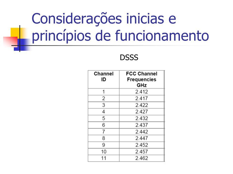 Considerações inicias e princípios de funcionamento DSSS