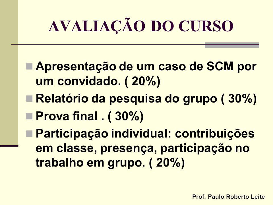 Prof. Paulo Roberto Leite AVALIAÇÃO DO CURSO Apresentação de um caso de SCM por um convidado. ( 20%) Relatório da pesquisa do grupo ( 30%) Prova final