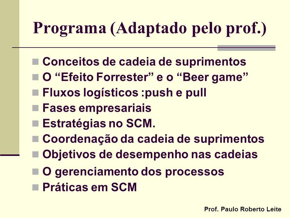Prof. Paulo Roberto Leite Programa (Adaptado pelo prof.) Conceitos de cadeia de suprimentos O Efeito Forrester e o Beer game Fluxos logísticos :push e