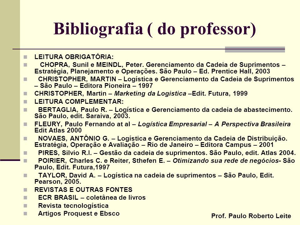 Prof. Paulo Roberto Leite Bibliografia ( do professor) LEITURA OBRIGATÓRIA: CHOPRA, Sunil e MEINDL, Peter. Gerenciamento da Cadeia de Suprimentos – Es