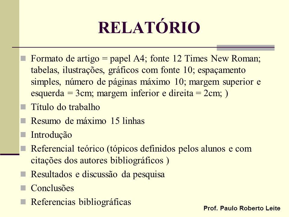 Prof. Paulo Roberto Leite RELATÓRIO Formato de artigo = papel A4; fonte 12 Times New Roman; tabelas, ilustrações, gráficos com fonte 10; espaçamento s