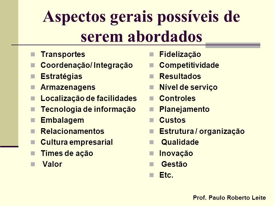 Prof. Paulo Roberto Leite Aspectos gerais possíveis de serem abordados Transportes Coordenação/ Integração Estratégias Armazenagens Localização de fac