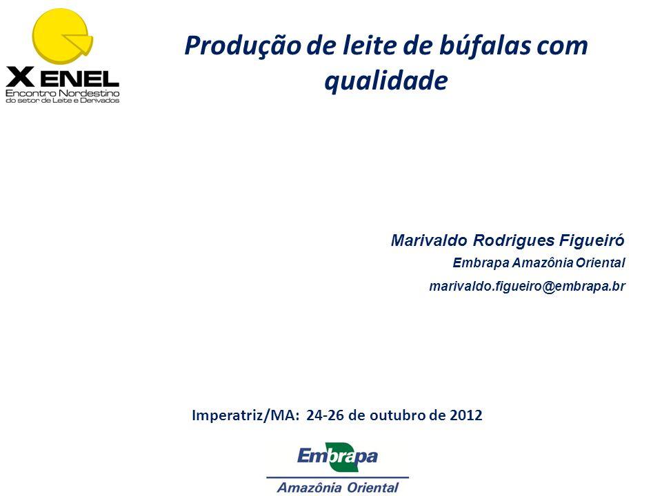 Marivaldo Rodrigues Figueiró Embrapa Amazônia Oriental marivaldo.figueiro@embrapa.br Produção de leite de búfalas com qualidade Imperatriz/MA: 24-26 d