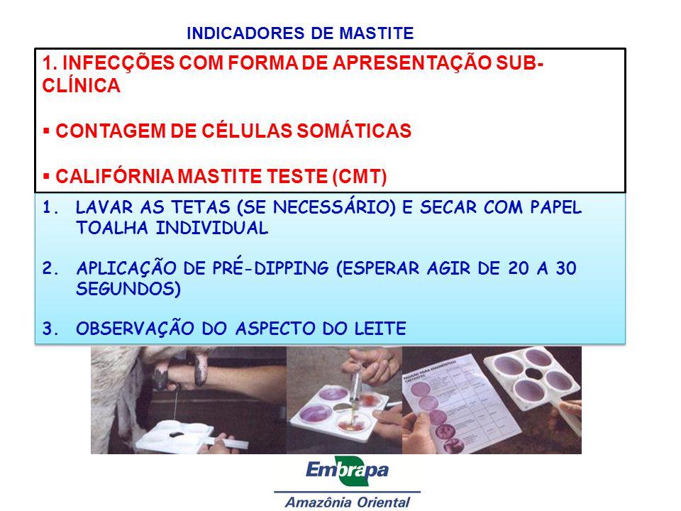 INDICADORES DE MASTITE 1. INFECÇÕES COM FORMA DE APRESENTAÇÃO SUB- CLÍNICA CONTAGEM DE CÉLULAS SOMÁTICAS CALIFÓRNIA MASTITE TESTE (CMT) 1.LAVAR AS TET