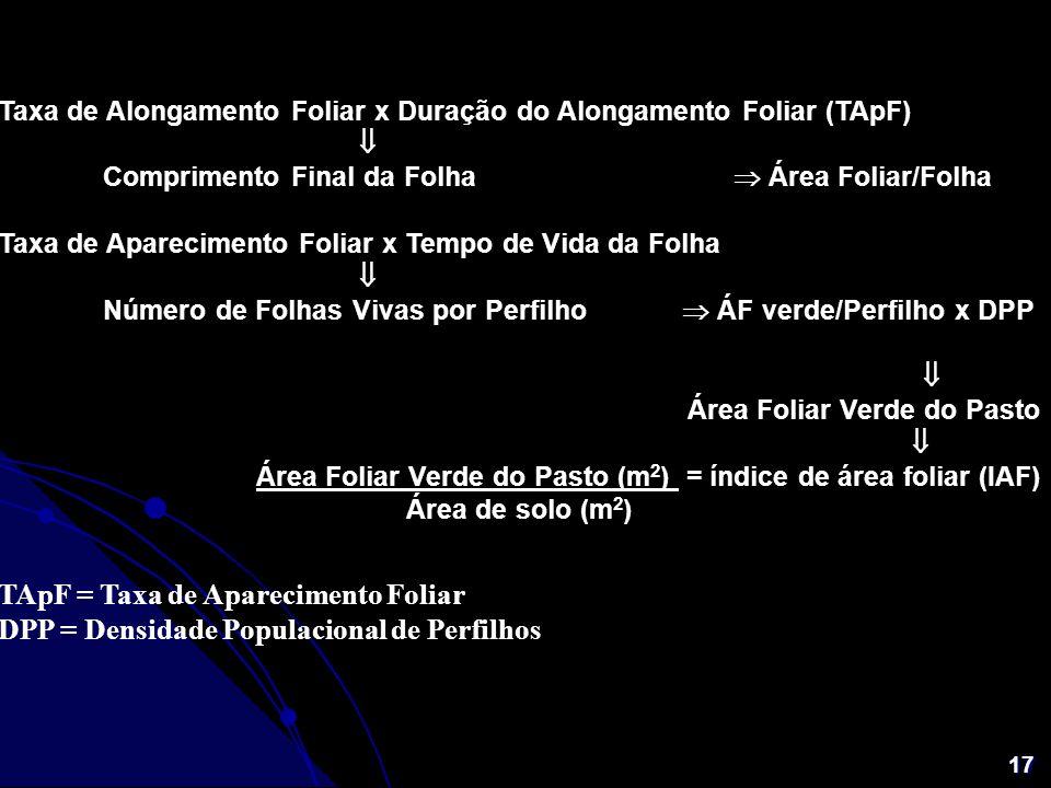 17 Taxa de Alongamento Foliar x Duração do Alongamento Foliar (TApF) Comprimento Final da Folha Área Foliar/Folha Taxa de Aparecimento Foliar x Tempo