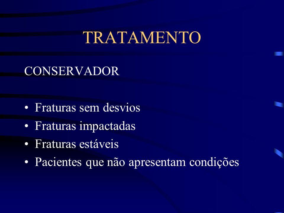 TRATAMENTO CONSERVADOR Fraturas sem desvios Fraturas impactadas Fraturas estáveis Pacientes que não apresentam condições