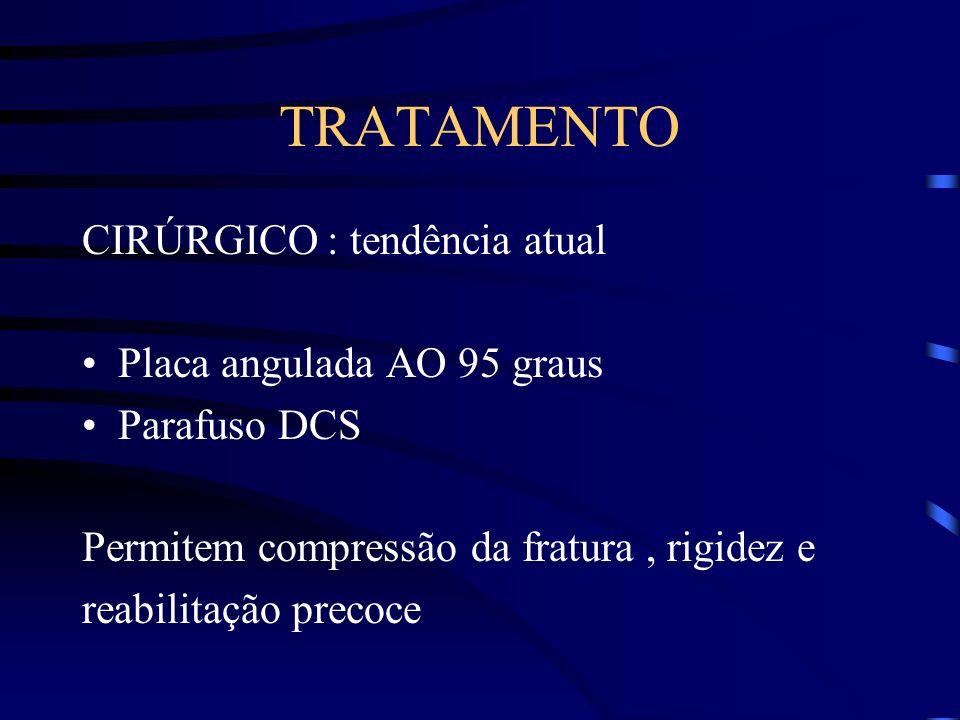 TRATAMENTO CIRÚRGICO : tendência atual Placa angulada AO 95 graus Parafuso DCS Permitem compressão da fratura, rigidez e reabilitação precoce