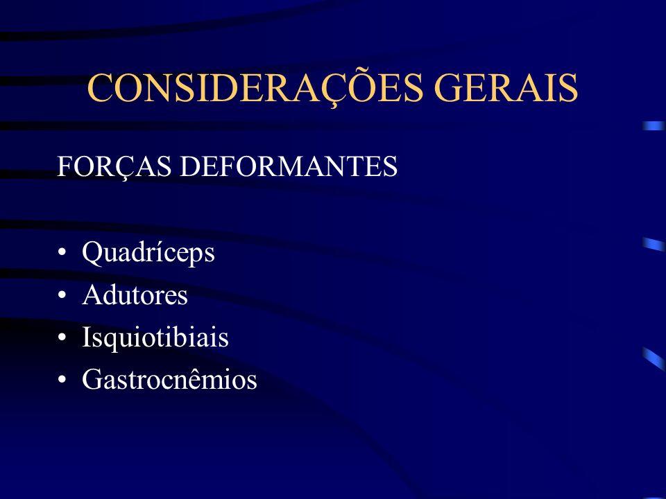 CONSIDERAÇÕES GERAIS FORÇAS DEFORMANTES Quadríceps Adutores Isquiotibiais Gastrocnêmios