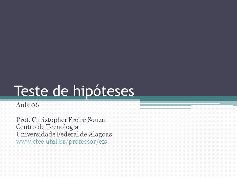 Teste de hipóteses Aula 06 Prof. Christopher Freire Souza Centro de Tecnologia Universidade Federal de Alagoas www.ctec.ufal.br/professor/cfs
