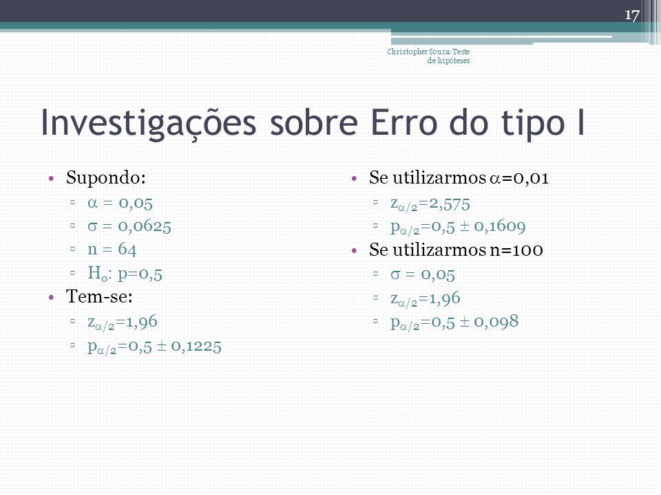 Investigações sobre Erro do tipo I Supondo: = 0,05 = 0,0625 n = 64 H o : p=0,5 Tem-se: z /2 =1,96 p /2 =0,5 0,1225 Se utilizarmos =0,01 z /2 =2,575 p