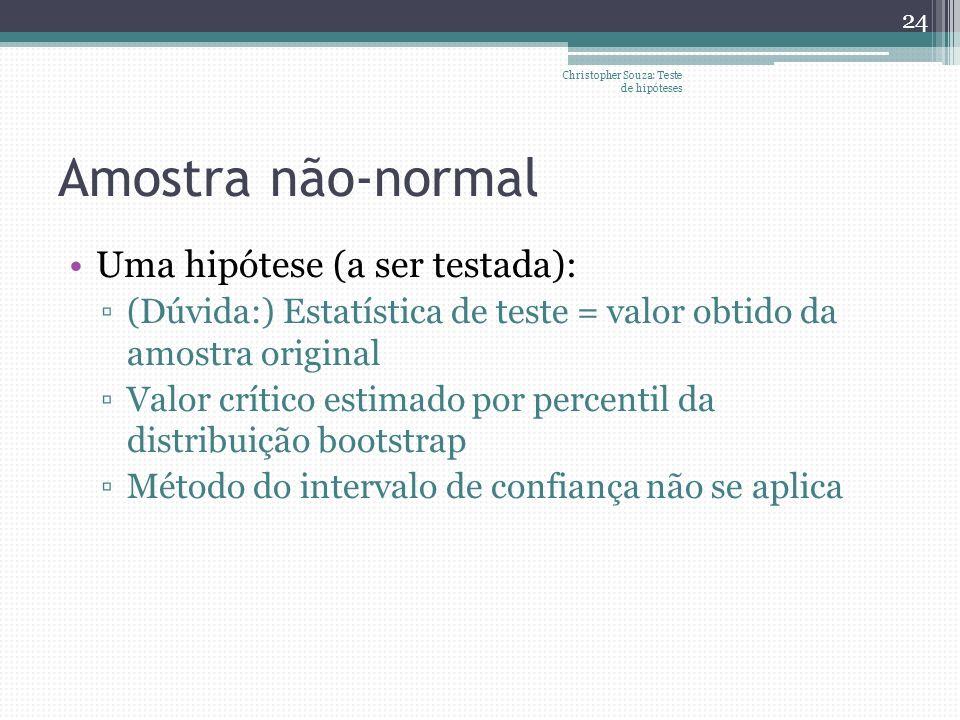 Amostra não-normal Uma hipótese (a ser testada): (Dúvida:) Estatística de teste = valor obtido da amostra original Valor crítico estimado por percenti
