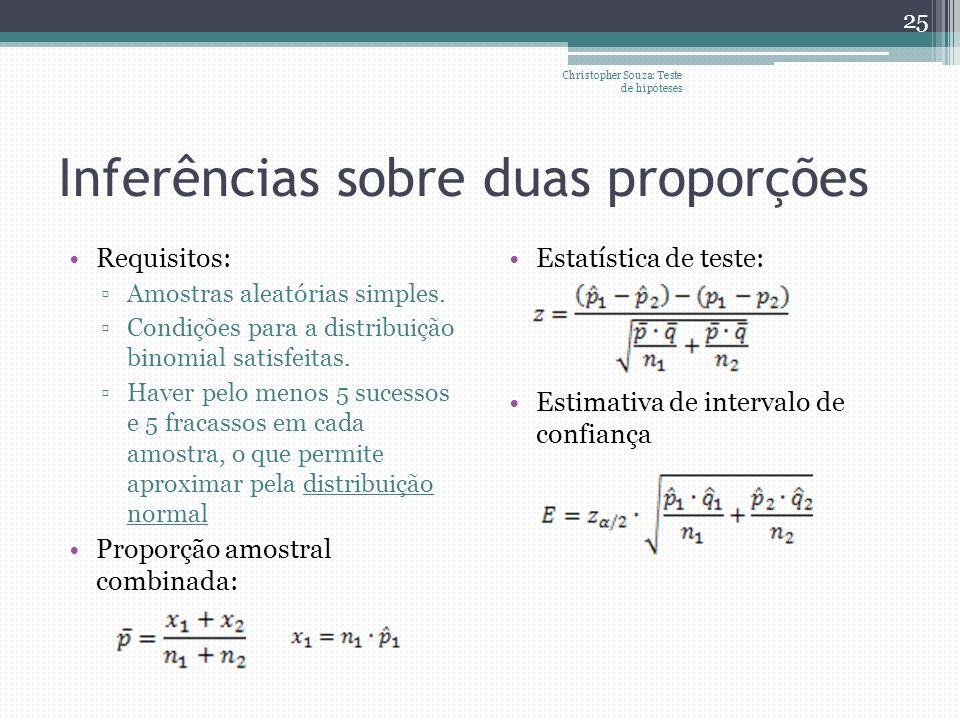Inferências sobre duas proporções Requisitos: Amostras aleatórias simples. Condições para a distribuição binomial satisfeitas. Haver pelo menos 5 suce