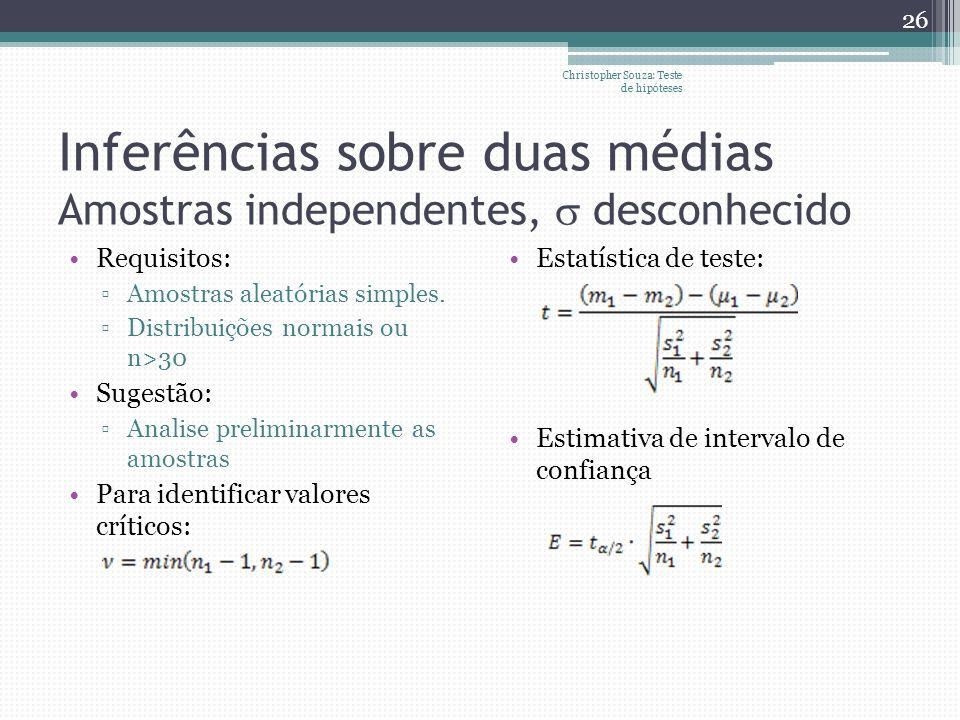 Inferências sobre duas médias Amostras independentes, desconhecido Requisitos: Amostras aleatórias simples. Distribuições normais ou n>30 Sugestão: An