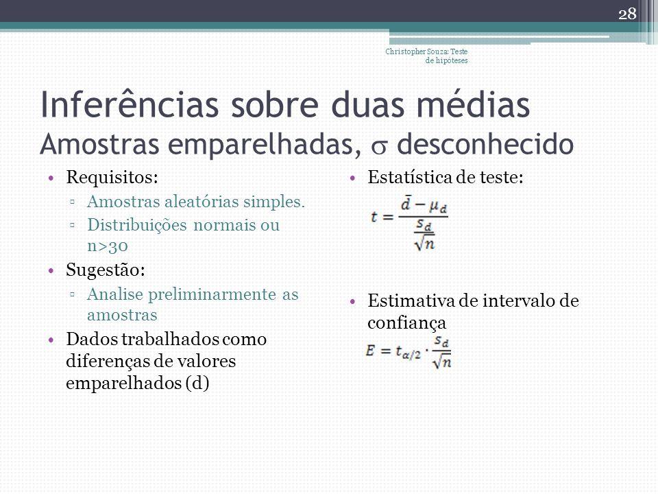 Inferências sobre duas médias Amostras emparelhadas, desconhecido Requisitos: Amostras aleatórias simples. Distribuições normais ou n>30 Sugestão: Ana