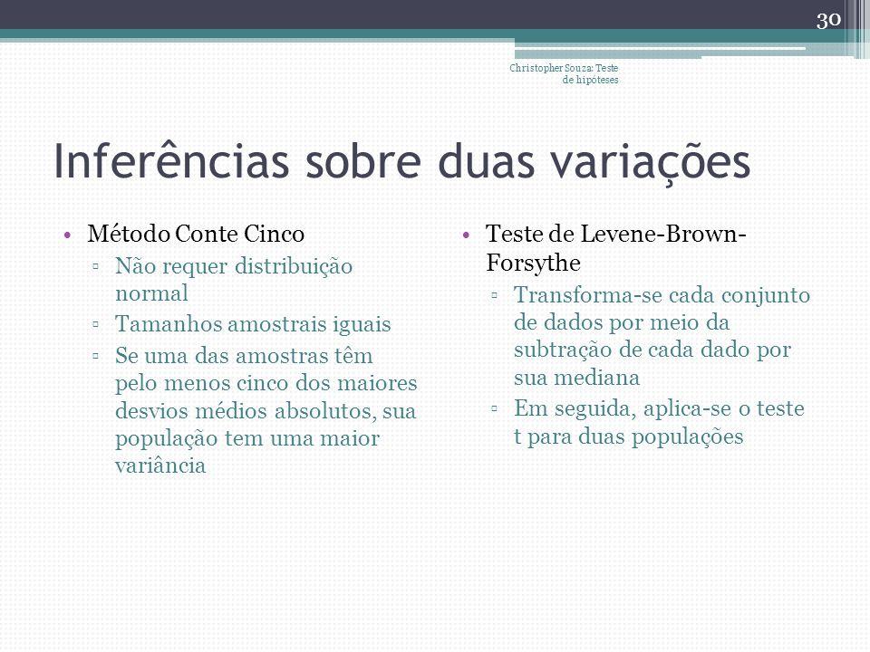 Inferências sobre duas variações Método Conte Cinco Não requer distribuição normal Tamanhos amostrais iguais Se uma das amostras têm pelo menos cinco