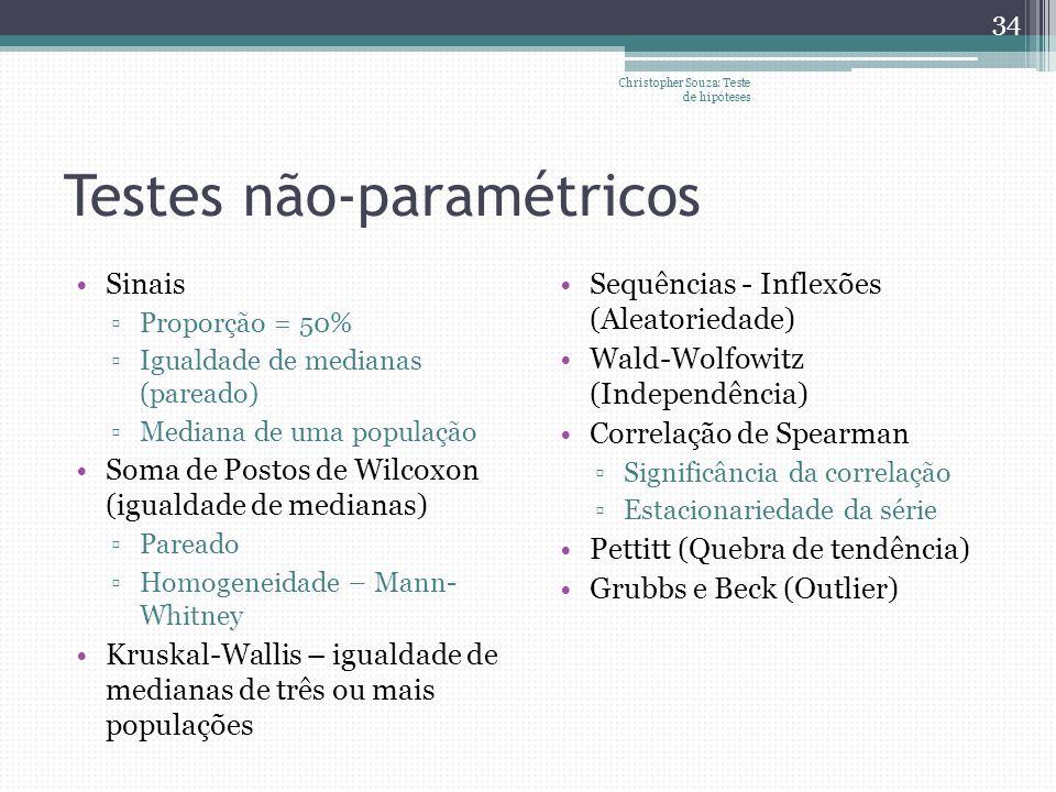 Testes não-paramétricos Sinais Proporção = 50% Igualdade de medianas (pareado) Mediana de uma população Soma de Postos de Wilcoxon (igualdade de media