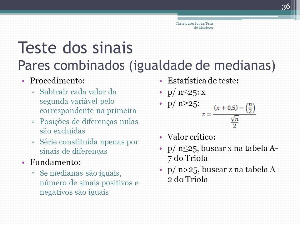 Teste dos sinais Pares combinados (igualdade de medianas) Procedimento: Subtrair cada valor da segunda variável pelo correspondente na primeira Posiçõ